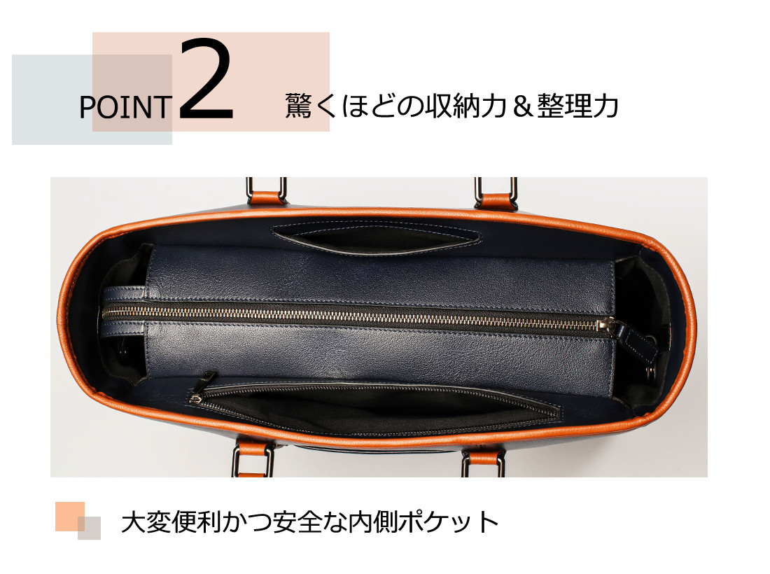 POINT2 驚くほどの収納力&整理力 大変便利かつ安全な内側ポケット