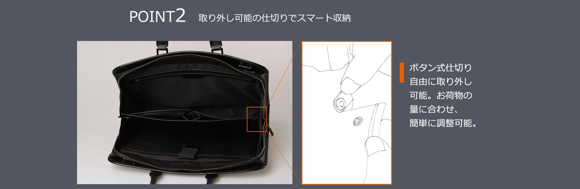 POINT2 取り外し可能の仕切りでスマート収納 ボタン式仕切り自由に取り外し可能。お荷物の量に合わせ、簡単に調整可能。