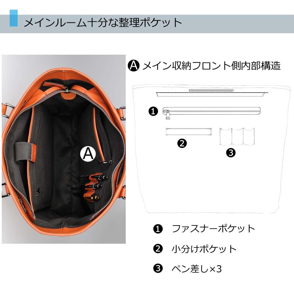 メインルーム十分な整理ポケット メイン収納フロント側内部構造 1.ファスナーポケット 2.小分けポケット 3.ペン差し×3
