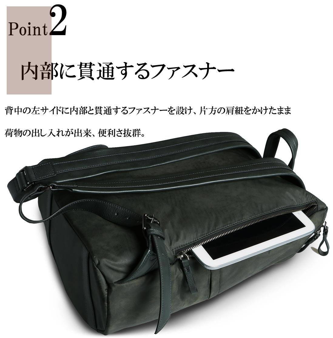 POINT2 内部に貫通するファスナー 背中の左サイドに内部と貫通するファスナーを設け、片方の肩紐をかけたまま荷物の出し入れができ、便利さ抜群。